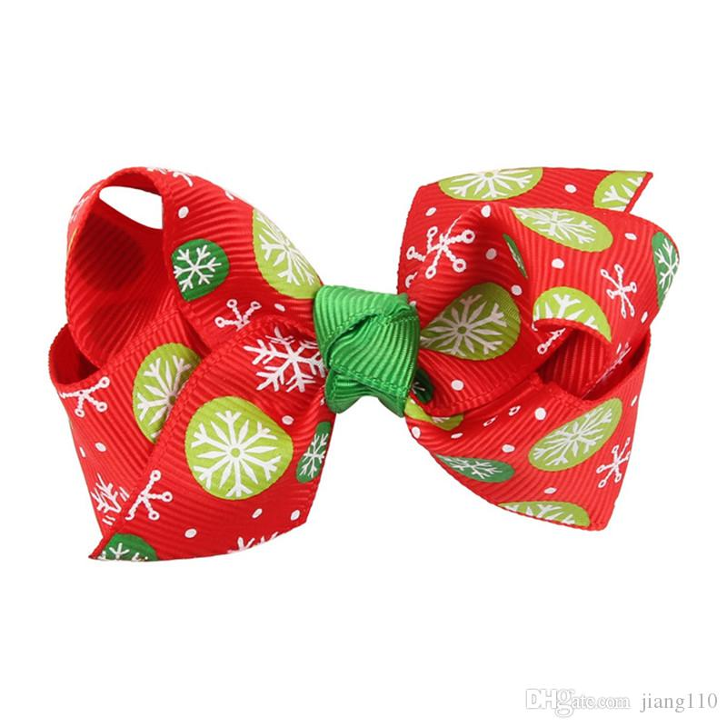 Christmas Ribbon Hair Bows WITH CLIP for Christmas Party Decoration 3 inch Boutique Hair Bows Kids Christmas Gift