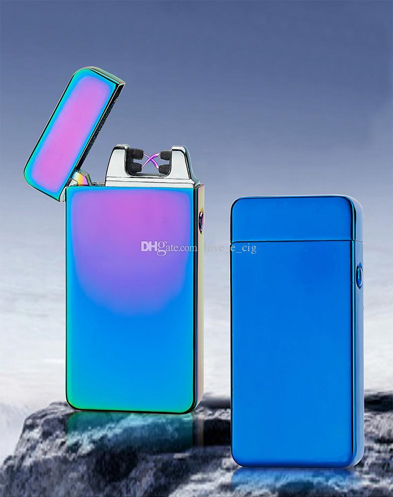 Double fire cross twin arc Double cross fire ice new electric arc gold colorful charge usb lighters Including retail packaging