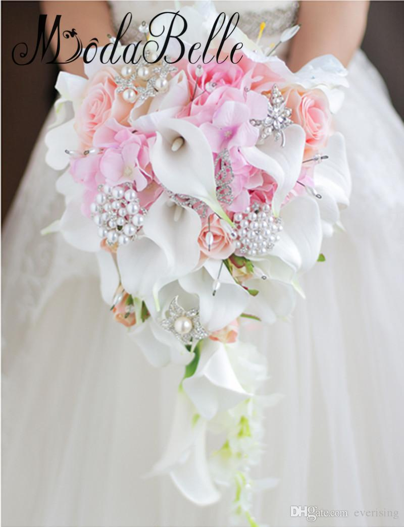 Grosshandel Modabelle Wasserfall Stil Calla Lilien Hochzeit Bouquets