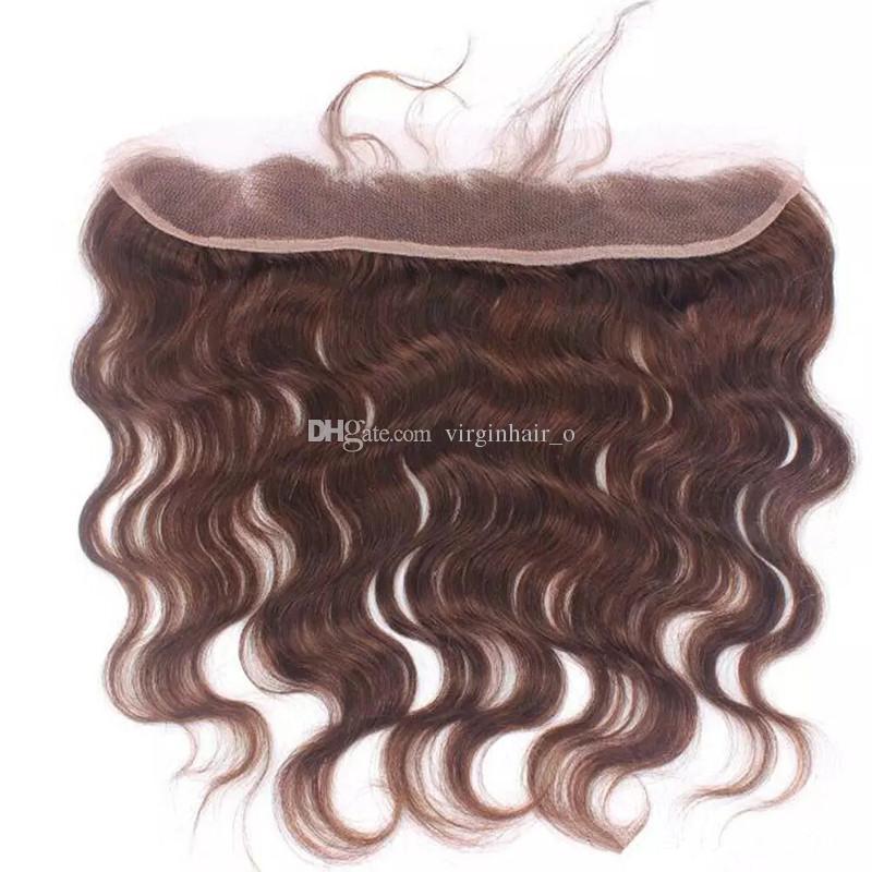 9A Capelli castani brasiliani dell'onda del corpo dei capelli umani vergini brasiliani con colore # 4 marrone medio 13 * 4 chiusura frontale del pizzo all'orecchio all'orecchio