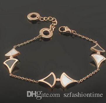 Fancy Shell Bracelet Black and White Pair Bracelet for Men and Women Bracelet Rose Gold - Gold