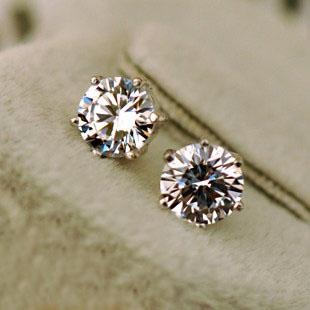 for gold diamond plated colors cz earrings fashion crown stud jewelry crystal lady products classic