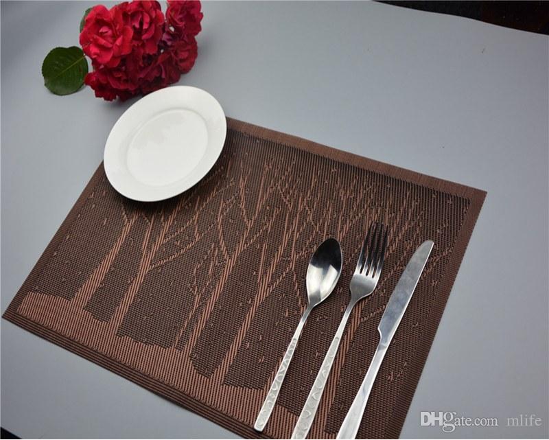 Jantar dos desenhos animados placemats estantes de mesa de lugar de pvc árvore de floresta talheres louça linda cozinha ferramentas de mesa de almofadas