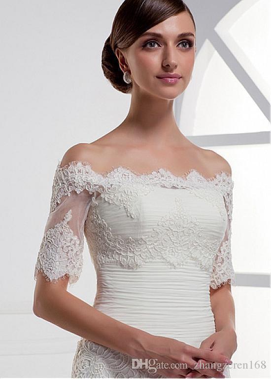 Newest Style Half Sleeve Wedding Jacket Vintage White Lace Wedding Bolero Boat Neck Bridal Jacket ASWP09