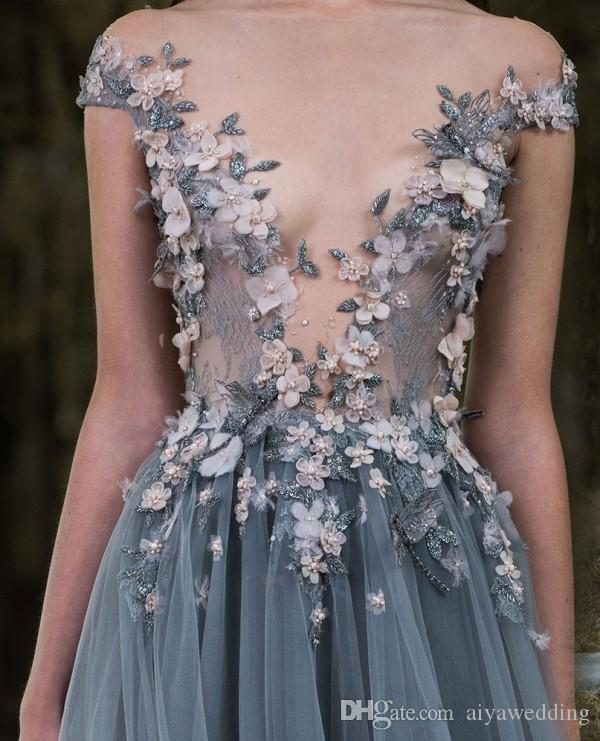 2019 Paolo Sebastian Lace Prom Dresses Sheer Plunging Neckline Appliqued Party Gowns Cheap Sweep Train Tulle Beads Evening Wear For Women