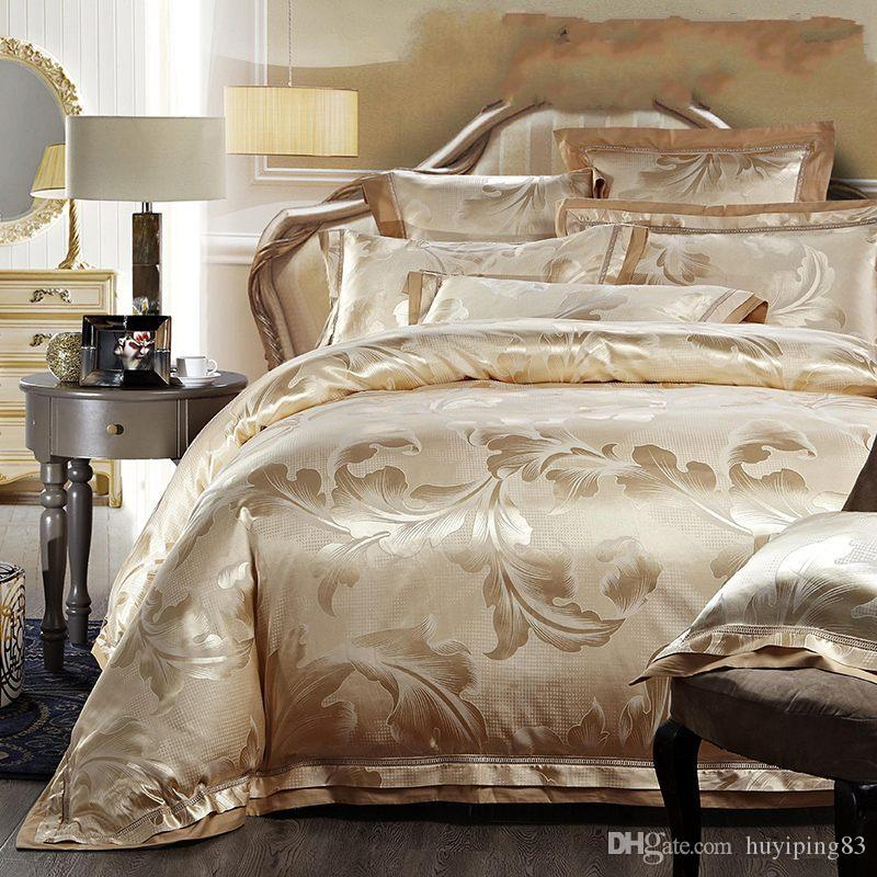 Jacquard Home Têxtil Bedding Set Luxury Silk Cetim Quilt / Duveta Capa Rainha King Size Size Lençóis Folha de cama Rosinho de linho Algodão