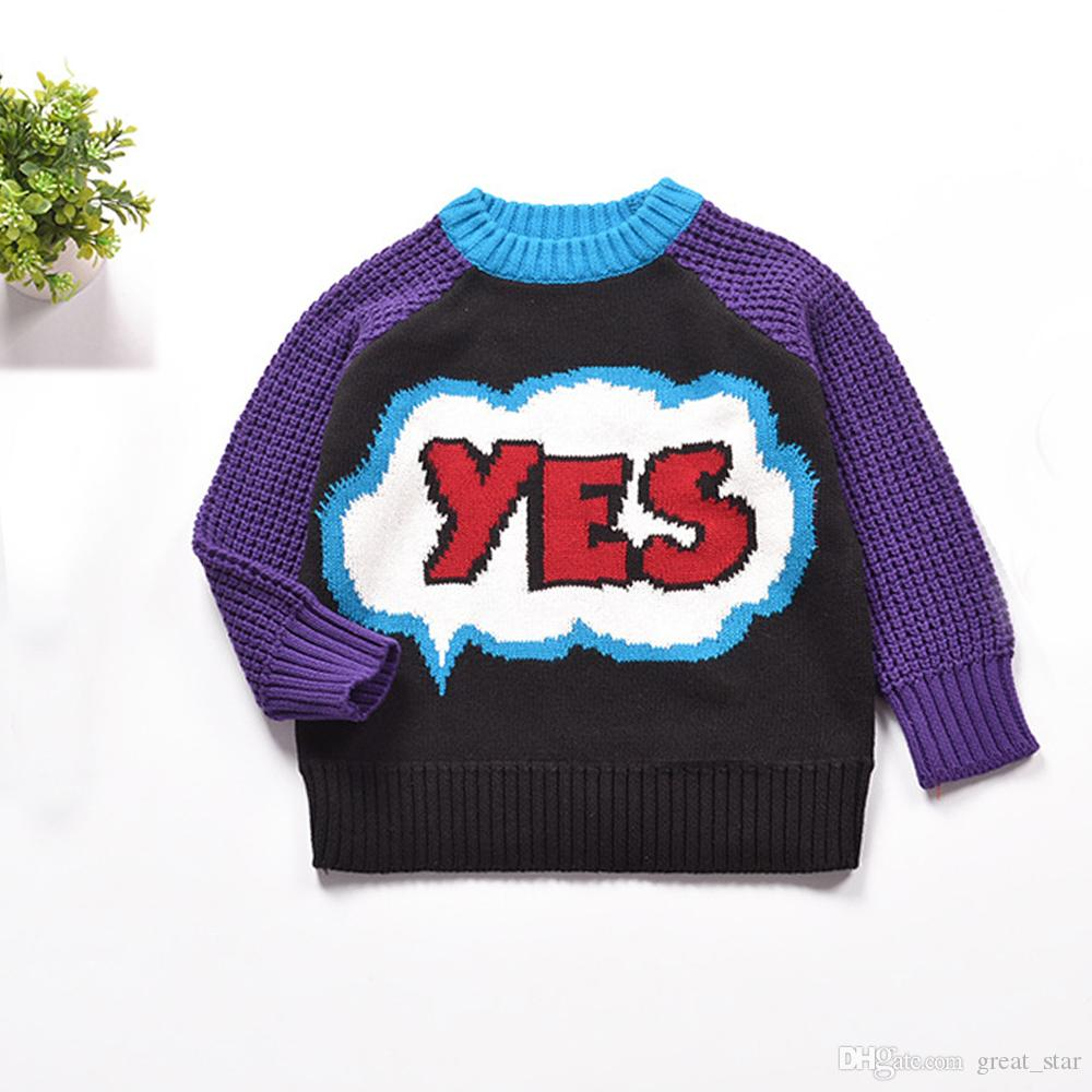 New Fashion Children Cotton Long-Sleeve Girls Sweater Knit Letter Cotton Unisex Kid Tops Bloueses Cute Pattern Boys Sweater 2-6T