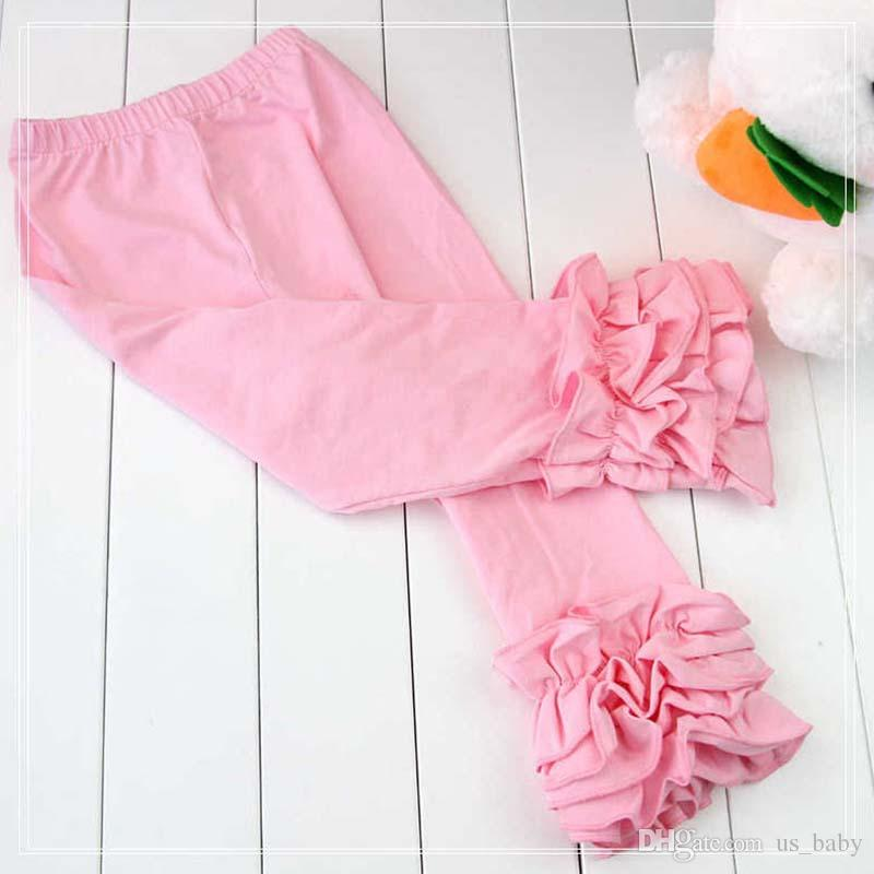 Kids Trousers 3Layers Mint Aqua Icing Ruffle Leggings Baby Pants No bow For 1-8T Spring Autumn Yellow pink Clothes
