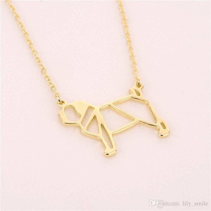 Fashion origami pug Necklace Geometric jewelry drop ship cute dog pendant necklace Animal lover gift for ladies