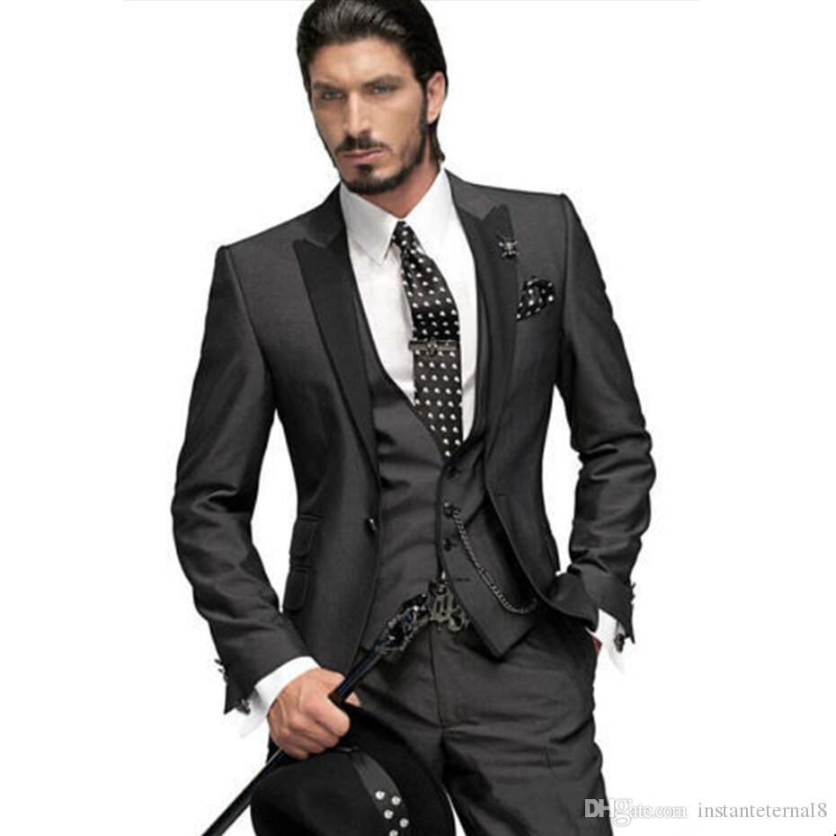 Slim Fit One Button Groom Tuxedos Charcoal Grey Best Man Peak ...