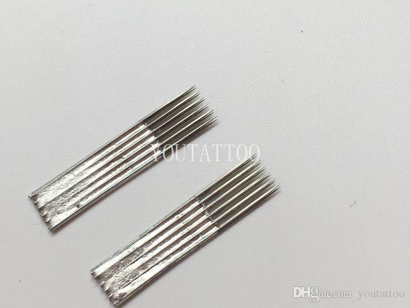 Permanent Makeup6 Pin Flat Double Line Eyebrow Shader Powder Eyebrow Blade Permanent Makeup Double Tattoo Needles Blade
