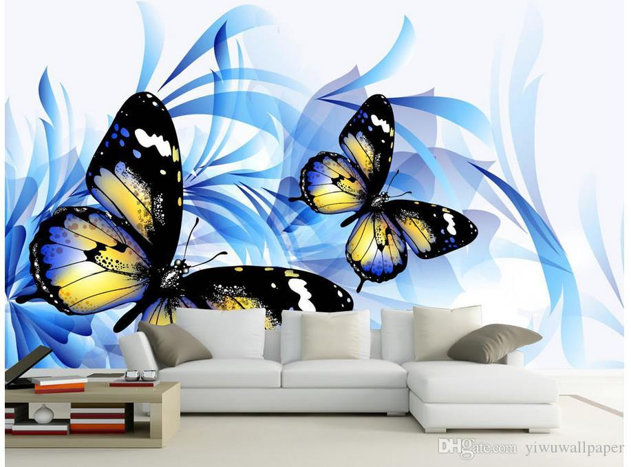 Popular Romantic Blue Butterfly TV Wall Decorative Painting mural 3d wallpaper 3d wall papers for tv backdrop