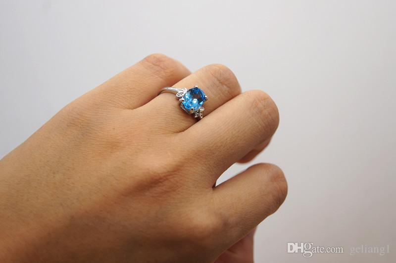Charm Ring 925 Sterling Silver inkrustowany z Blue Topaz Ring. Pierwszy wybór dla pięknej pani