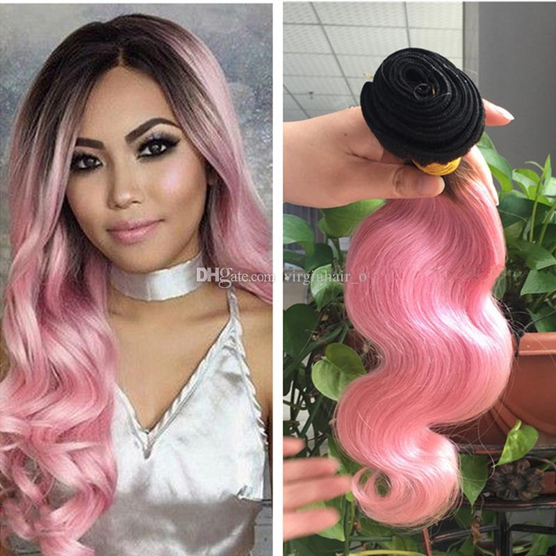 9a Ombre Hair Extensions Black And Pink Ombre Virgin Human Hair Two