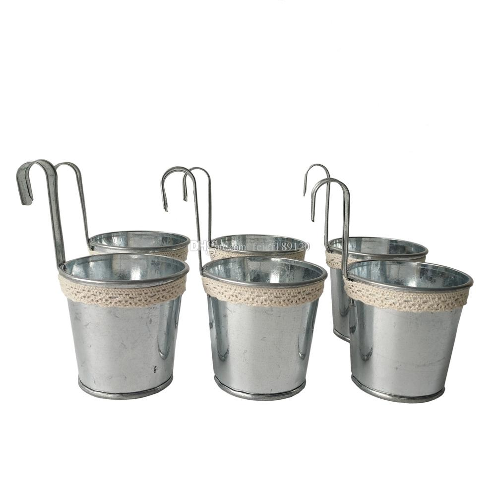 Silvery meat plant pot tin pail succulent planter mini for Large galvanized buckets for flowers