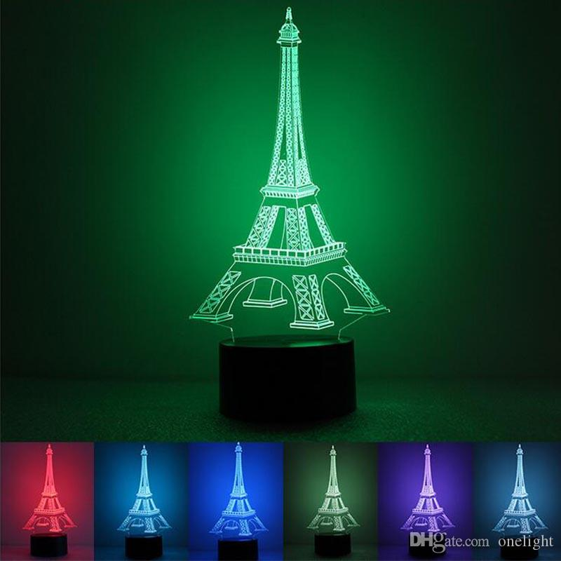 2019 3d Illusion Eiffel Tower Led Night Light Changeable