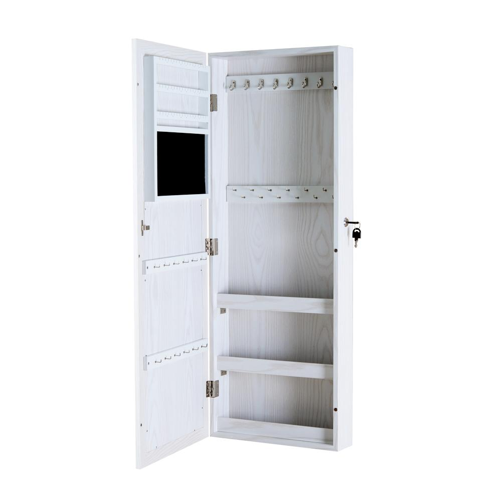 2018 White Wood Jewelry Cabinet Armoire With Mirror Jewelry Organized  Storage Box For Necklace Rings And Ect Stock In Usa From Fashionyourlife,  ...