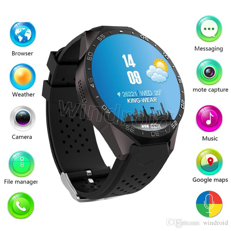 2017 KW88 MTK6580 quad core Android 5.1 OS Smart Watch Phone 400*400 Screen smartwatch Support SIM 3G WIFI Camera pedometer heart rate 3pcs