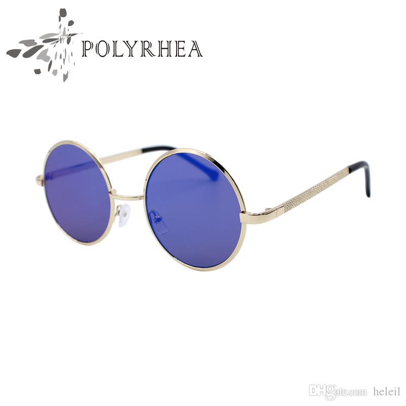 Fashion Women's Round Sunglasses Vintage Reflective Metal Sunglasses Circular Tide Brand Designer Metal Frame Sun Glasses With Box And Cases