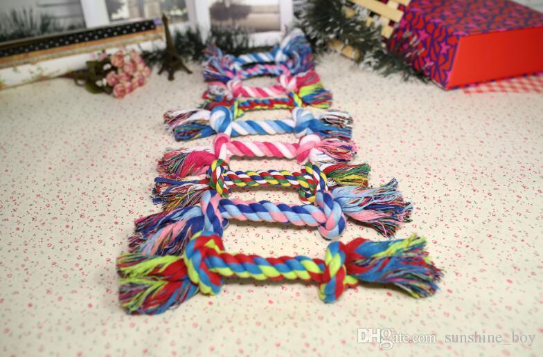 2018 Hot vente Puppy Cotton Chew Knot Jouet Durable Tressé Os Corde 17 CM Drôle Outil En Gros Animaux Chiens Fournitures Pet molaire jouets