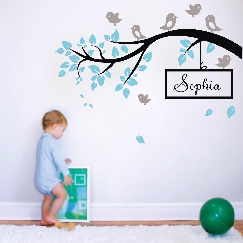 L20 Birds Branch Big Tree Personalised Name Wall Stickers Home Decor  Removable Vinyl Decal Kids Nursery Baby Room Mural Decor Tree Wall Decor  Stickers Tree ... Part 63
