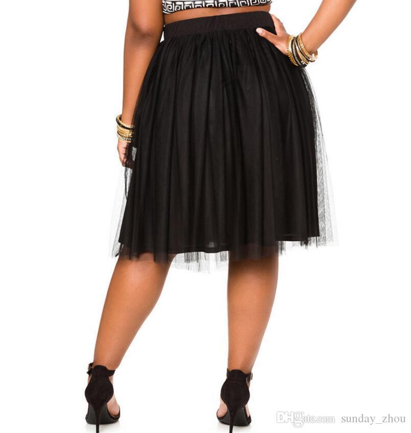 Edad Mujeres negro de tul faldas del tutú de adulto Vintage princesa Señora color puro falda hasta la rodilla Faldas de baile