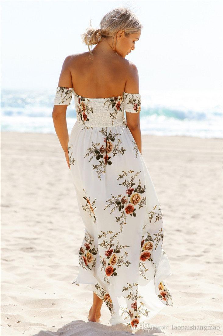 Nova saia de praia de verão popular vestido impresso na Europa e América Bohemia saia longa bifurcada manga curta irregular vestido de chiffon solto