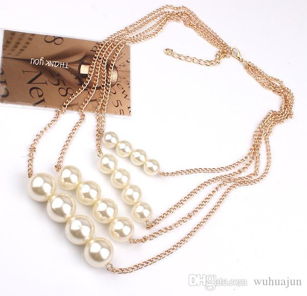 Classic Fahsion Imitation Pearl Necklace For Women 4 Row Pendant Necklace Lady Cream Pearl Party Necklaces High Quality Multi Chain Necklace