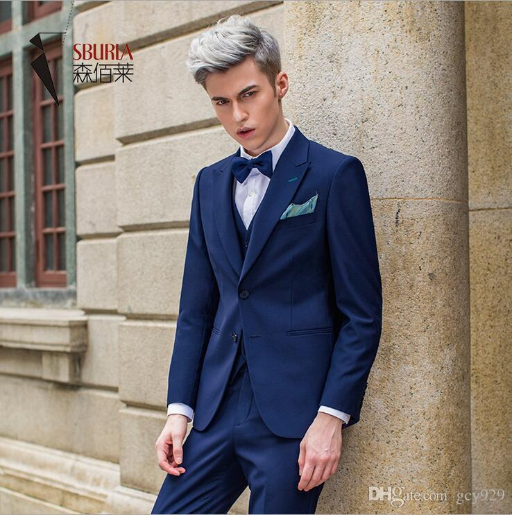 2017 New High End Wholesale Navy Blue Suits, Three Piece Men'S ...