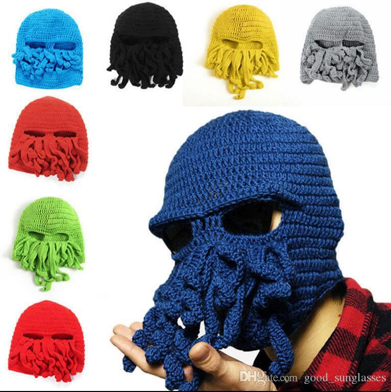 Unisex Men Women Funny Cap Octopus Crochet Knitted Hat Ski Beanie Cap Warm Hat Wind Ski Face Head Mask octopus wool cap KKA2628