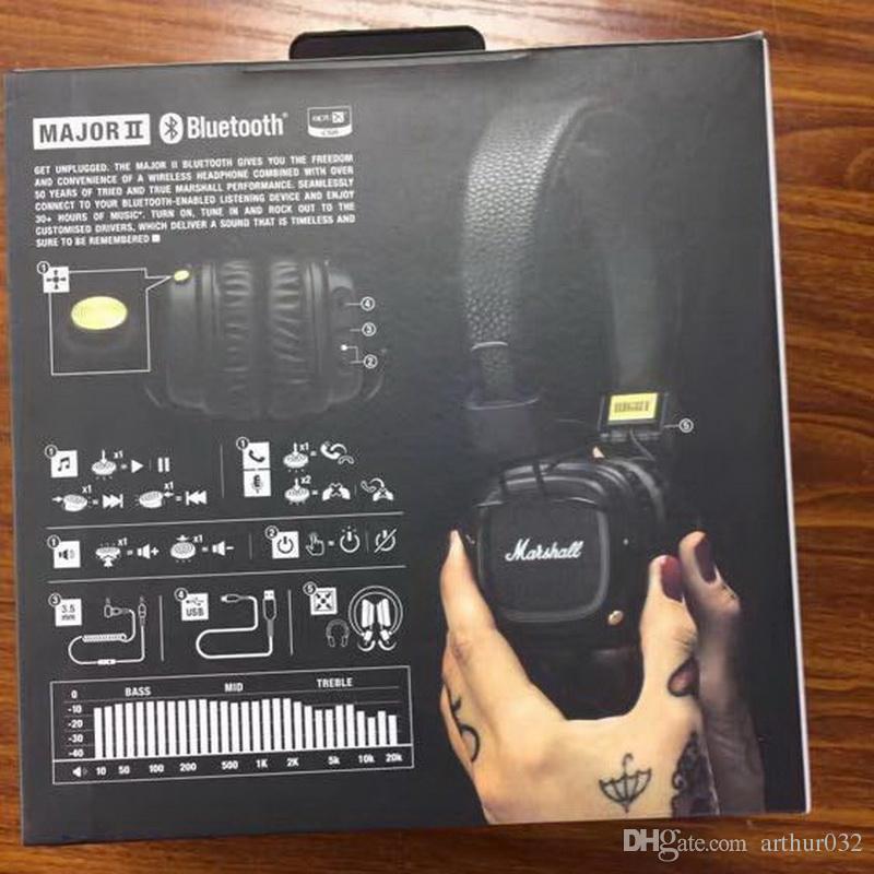 Marshall major ii fones de ouvido bluetooth com microfone deep bass dj fone de ouvido de alta fidelidade fone de ouvido profissional dj monitor de fone de ouvido com pacote de varejo