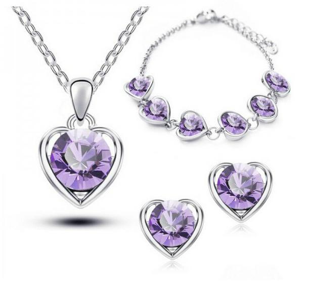 Conjuntos de joyas Accesorios de moda Collares de corazón Pendientes Pulsera Cristal austriaco Para Mujer Joyería de regalo para niñas