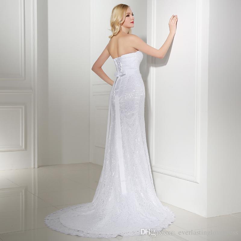 Pleat Bridal Wedding Gown White/Ivory Lace Cheap Mermaid Wedding Dress Vintage Sash Bride Dress vestido De noiva Belt