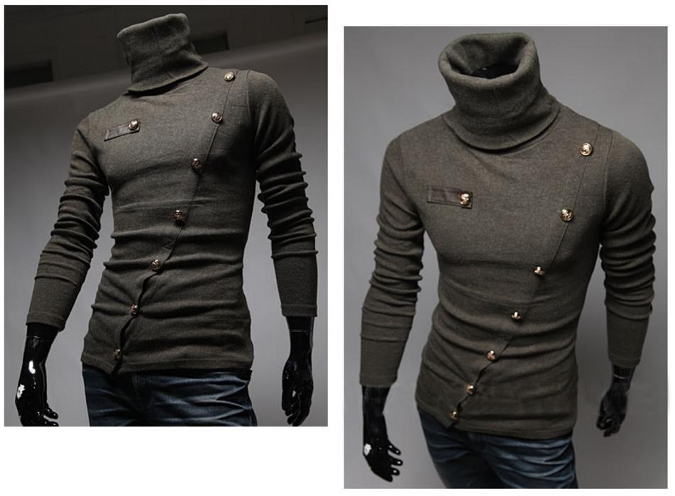 Swester Sweatshirt Men Pullover Sweaters Slant Inclined Single Breasted Design High Collar Long Sleeve Slim Fit For Man 2017
