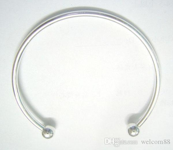10 stks / partij Verzilverd Bangle Armbanden voor DIY Craft Mode-sieraden Gift 7.6Inch C15