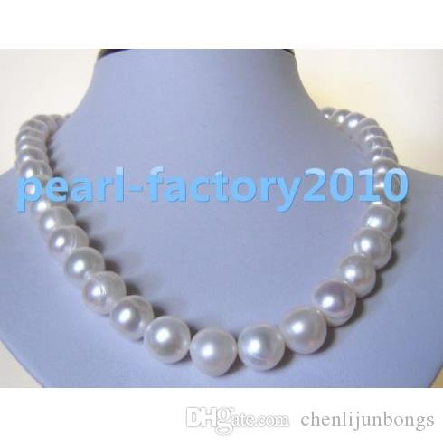 """huge 18"""" 13-12MM SOUTH SEA NATURAL White PEARL NECKLACE 14K GOLD CLASP"""