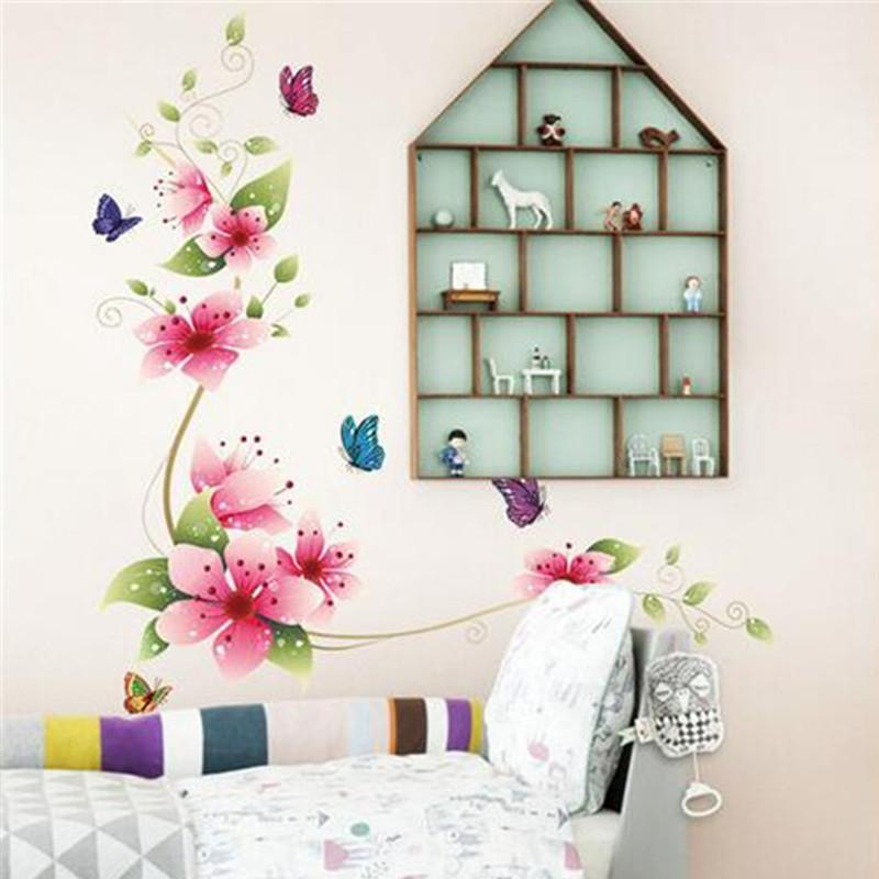 Qt 0143 removable mural flowers and butterflies window sticker bedroom wall stickers home decor wall decals kids wall decals sayings wall decals sticker