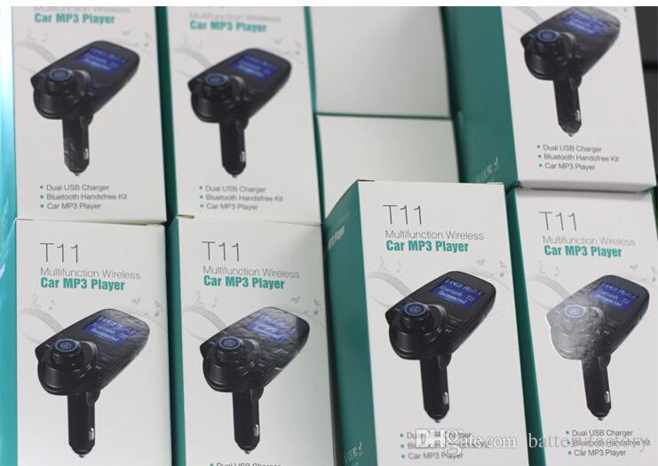 T11 Bluetooth Kit Mãos-livres Do Carro Com Carregador de Porta USB E Transmissor FM Suporte TF Cartão de MP3 MP3 Player VS BC06 BC09 T10 X5 G7 Car Kit