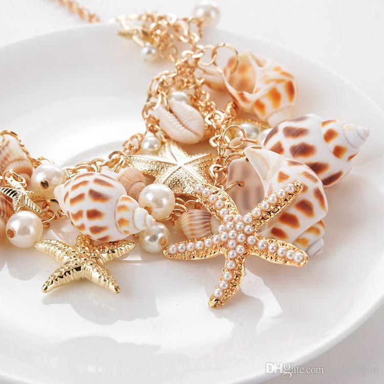 Classique Océan Style Starfish Shell Perle Collier Femmes Plage Conch Charme Colliers 18K Plaqué Or Pendentif Court Colliers