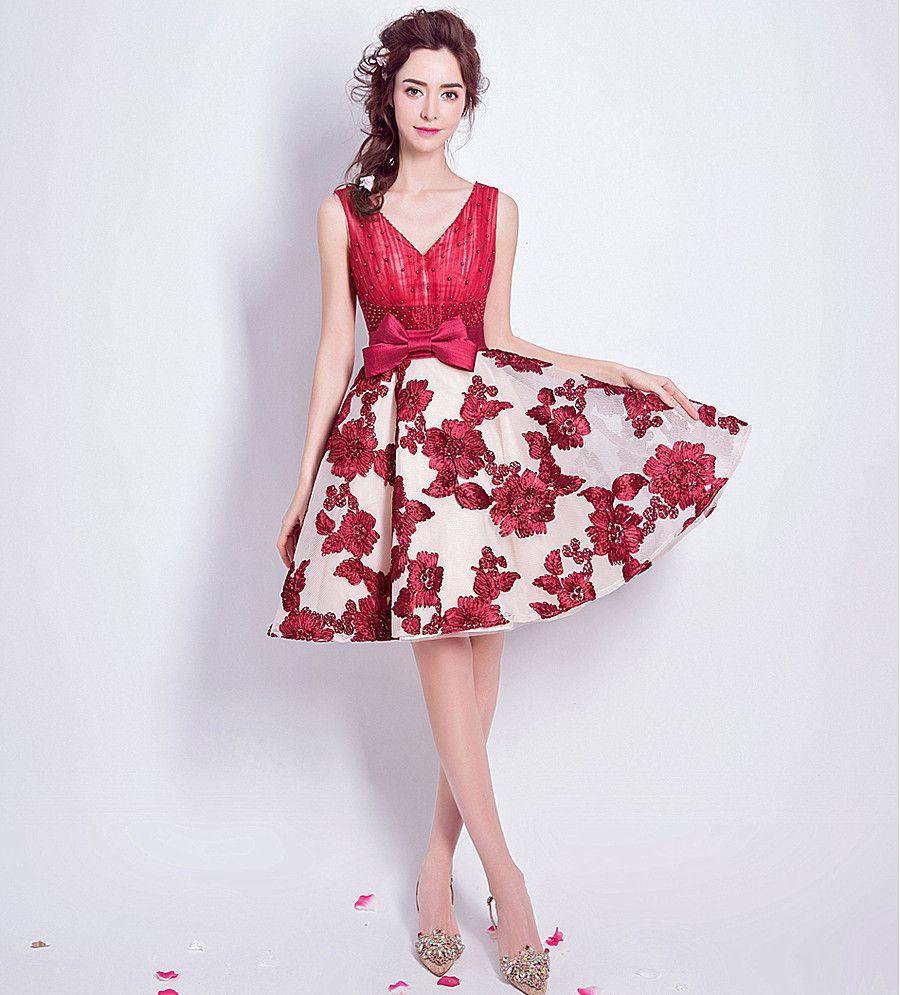 Großhandel Kurze Abendkleid Prom Dersses Red Beading Lace Slit ...