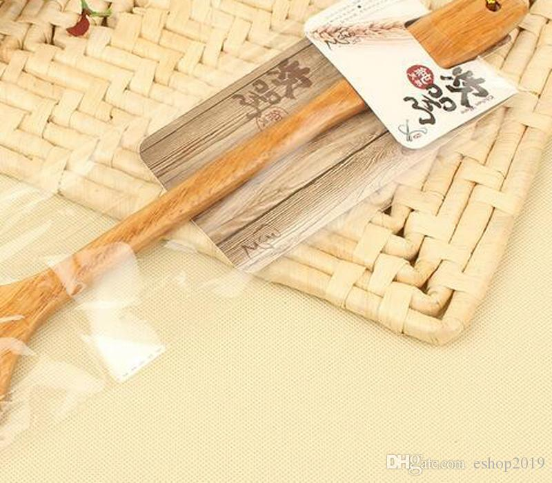 Длинная ручка деревянная жареная ложка не придерживайтесь горшок специальный горшок шпатель китайский стиль деревянная ложка анти-горячая древесина жареная лопата кухня Ву