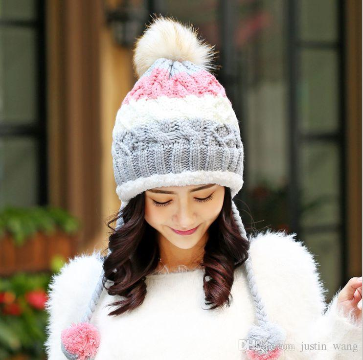 57be63b00f9 New Cute Autumn And Winter Ladies Plus Velvet Knit Hats Women Winter Ear Cap  Warm Wool Cap Cap Hat Cute Beanies From Justin wang