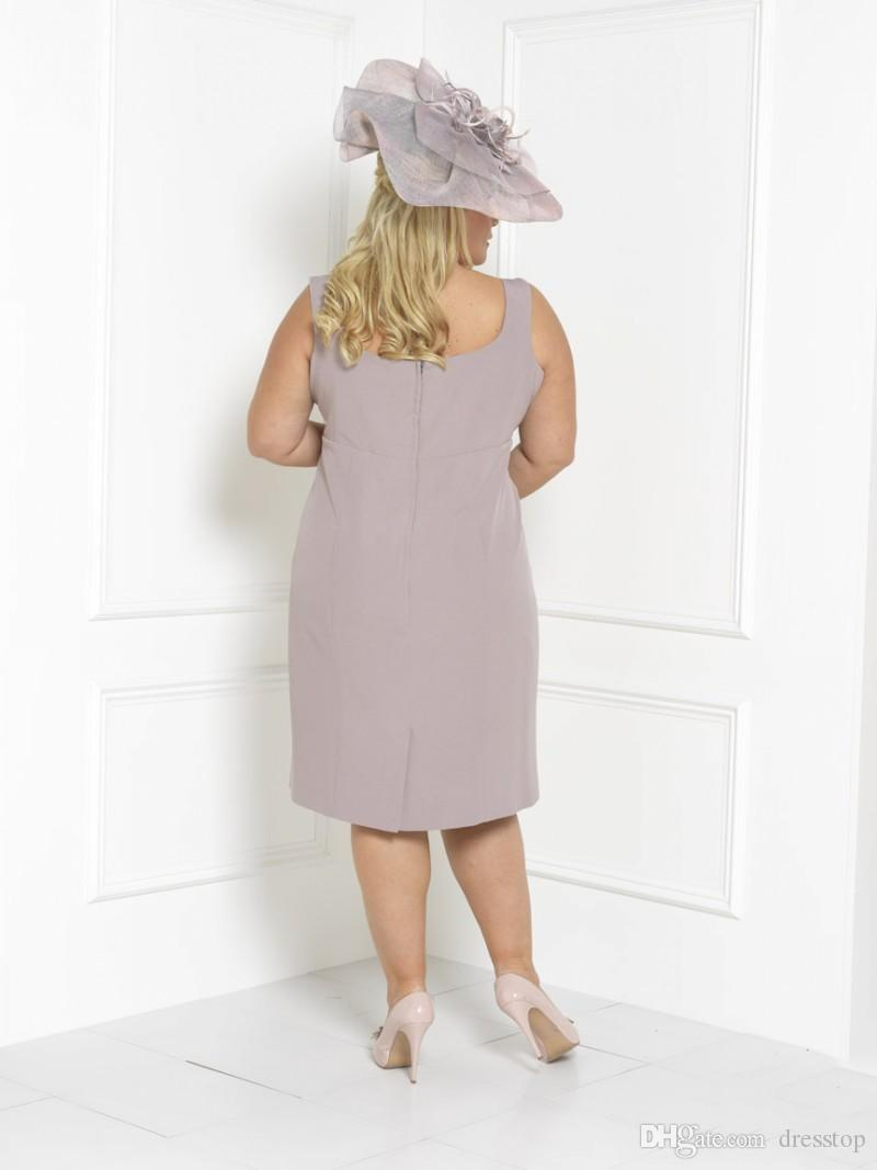 Plus Size Mother Of The Bride Dresses Sleeves Tea Length Scoop Neck Wedding Guest Dress Custom Mothers Groom Gown With Free Long Jacket