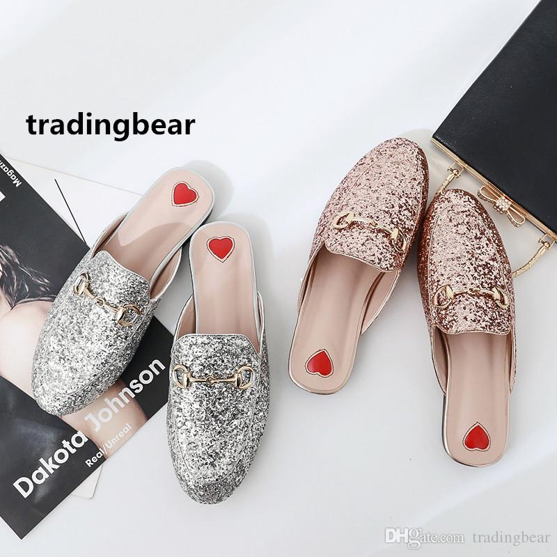 Fashion Flat Mule Glitter Pink Silver Sequined Slipper Women Shoes Pumps  Size 35 To 39 40 41 Cheap Heels Comfort Shoes From Tradingbear 61959f15a590