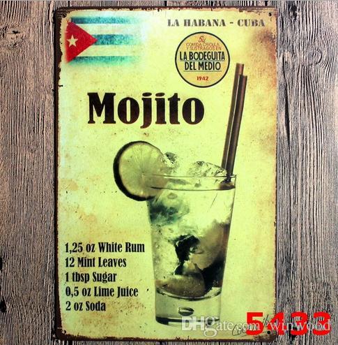 Bar pintura mojito cuba cubano cocktail sinais de lata do vintage retro placa de ferro de metal decoração da parede da pintura para bar cafe club home pub cerveja