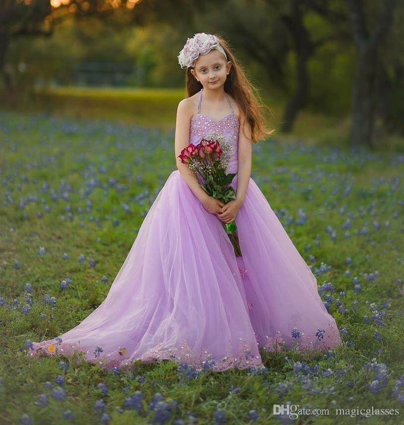 Gerçek Görüntüler Lavanta Çiçek Kız Elbise Düğün İçin Halter Yaylar Boncuk Lace Up Geri Kızlar Pageant Elbise Dantel Aplikler Çocuklar Doğum Günü kıyafeti