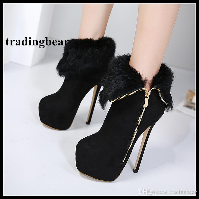 Fashion Women High Heels Keep Warm Thick Fur Zip Side Ankle Boots ... 084c8bedb51b