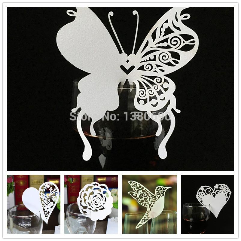 Wholesale Place Name Card Heart Butterfly Flower Glass Wedding Cards Party Birthday Festive Event Table Decoration Supplies White Online Christmas
