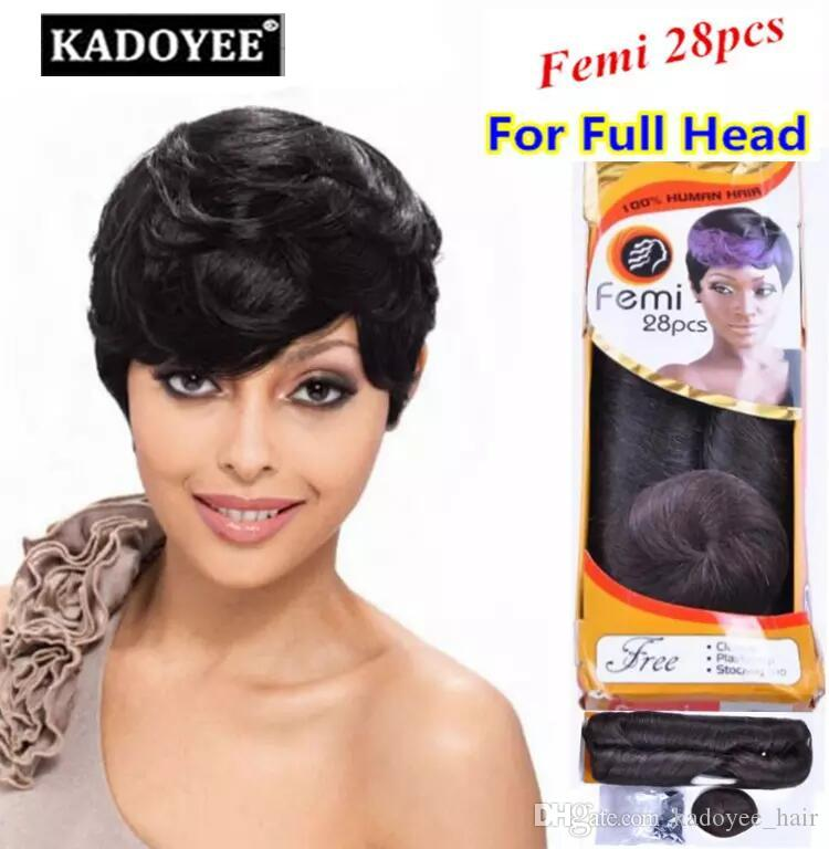 Femi Remy Human Hair Short Hair Wefts Soft And Healthy No Shedding