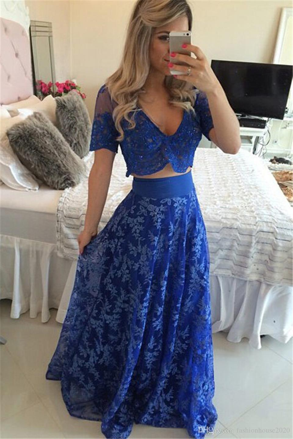 Sexy Long Royal Blue Two Piece Prom Dresses 2017 Cap Sleeve Sheer Illusion Bodice Cheap Long Prom Party Gowns Formal Dress Custom Made